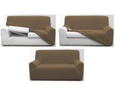Funda de sofá multiadaptable lisa sable o chocolate