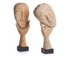 Kavehome - Set Figuras Decorativas Bataan, Disponible En Madera Y De Color Natural Por Solo 114.00