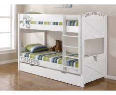 Cama litera con cajón UNIVERSITY - 2x90x190 cm - Pino blanco