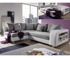 Sofá cama rinconero de tela y piel sintética KUOPIO - Gris/blanco - Ángulo izquierdo