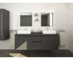 Conjunto de baño LAVITA II - Mueble + doble lavabo + espejo - Gris