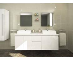 Conjunto de baño LAVITA II - Mueble + doble lavabo + espejo - Blanco