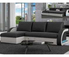 Sofá cama rinconero de piel sintética CORNEILLE - Ángulo reversible - Negro/blanco