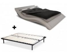 Cama ONDULIS + somier de láminas - 160x200 cm - Piel sintética blanca con leds