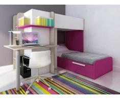 Cama litera SAMUEL - 2x90x190 cm - Escritorio integrado - Pino blanco/rosa