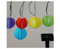 eminza Guirnalda Solar con LED con Farolillos multicolores - Blanco frío