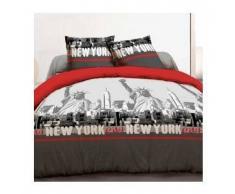 eminza Funda nórdica y dos fundas para almohada (240 cm) Nueva York Rojo