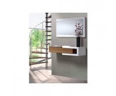 Mueble de recibidor con espejo Noon - Color - Blanco-nogal