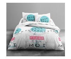Today 016053 Only Juego de cama para 2 personas dibujo Sens interdit poliéster blanco/azul/rosa 240 x 220 cm