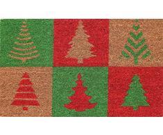 Coco&Coir | Felpudo de coco natural | Antideslizante | Ecologico | Felpudo interior y exterior | 45 x 75 cm } árbol de Navidad