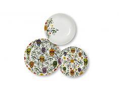 Excelsa Calavera - Vajilla de 18 piezas, de porcelana