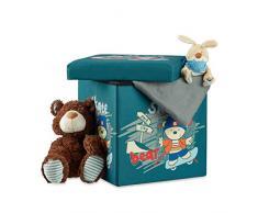 Relaxdays Taburete Infantil Plegable, Almacenamiento de Juguetes, Baúl con Tapa, 38 x 38 x 38 cm, Oso, poliéster, gomaespuma, tableros conglomerado DM, Orso