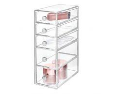 InterDesign Drawers Caja con compartimentos   Caja de maquillaje con 5 cajones   Organizador de maquillaje o artículos de oficina   Plástico transparente