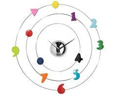 Premier Housewares - Reloj de pared (45 cm, analógico, números de cromo), multicolor