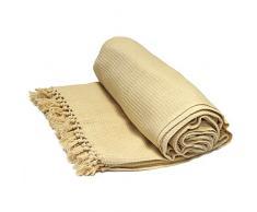 Just Contempo - Manta de algodón, 100% algodón, beige (natural, tejido grueso), doble (228 x 254 cm)