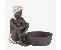 Better & Best Figura Decorativa de niño Sentado con cesto Liso, Medidas 18x11,5x16,5 cm, Material: Resina, Crema, Talla única