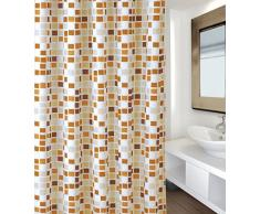 MSV Cortina de Baño, Diseño Mosaico, Poliéster, Naranja, 22x50x6 cm