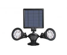 Lumi Jardin DOLBY W31 - Foco doble solar con 12 ledes para exterior impermeable, luz con sensor de movimiento, sensor de plástico, integrado, 3 W, negro, 41 x 31 x 9,5 cm