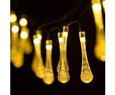 Cadena de Luce Solar 30 LED de Gota de Agua de Energía Impermeable, 6,35 metros, perfectas decoraciones para fietas, bodas, navidad