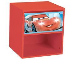 Fun House 712364 Disney Cars - mesita de noche con cajón para niños DM, rojo, 33 x 30 x 36 cm