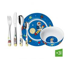 WMF Willy, Mia & Fred Space - Vajilla para niños 6 piezas, incluye plato, cuenco y cubertería (tenedor, cuchillo de mesa, cuchara y cuchara pequeña) (WMF Kids infantil)