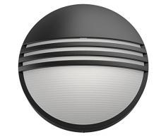 Philips myGarden Yarrow - Aplique de pared sin sensor, iluminación exterior, 1 x 6 W, resina, blanco cálido, color negro