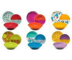 Excelsa Radical - Vajilla de 18 piezas, de porcelana y cerámica, multicolor