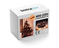 SnowEra SN-4879 Cadena Decorativas 400 LED Color Ámbar – Guirnalda de Luces Interior y Exterior con Temporizador y Función de Atenuación – Perfecto para el Árbol de Navidad – Longitud Approx. 50 m