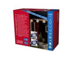 Konstsmide 4439-103 - Guirnalda LED de decoración (5 copos de nieve acrílicos, 60 diodos de blanco cálido, transformador exterior de 24 V, 3,6 W, cable transparente)