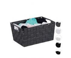 Relaxdays almacenaje, con Asas, Cesto de estantería y Armario, Plástico, 15,5x31x20,5 cm, 1 Ud, Gris, PP, Metal, M