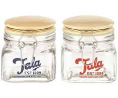 Tala - Tarro hermético (500 ml, tapa de cerámica esmaltada beige), diseño retro, transparente (1 unidad) - surtido