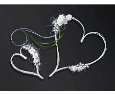 Partydeco corazones con ventosas decoración Coche novios decoración de Boda flores artificiales, DE Ratán, Color Marfil, 1-confezione