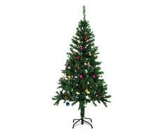 Homcom Árbol de Navidad Pino Abeto Arbol Plastico Verde 150 cm INCLUYE DECORACION y Soporte de Base