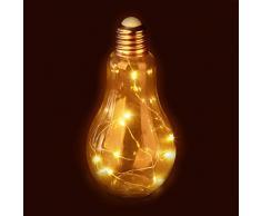 Relaxdays Decorativa LED, Lámpara de Mesa, A Pilas, Cadena de Luces, Transparente, 23,00 x 10,00 x 10,00cm