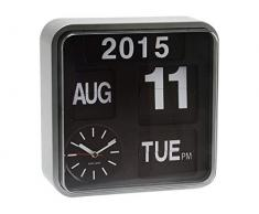 Karlsson Mini Flip - Reloj de pared, marco de color plateado y fondo negro