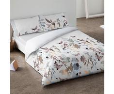Burrito Blanco - Juego de funda nórdica 340 Blanco con rayas en varios colores para cama de 90 x 190/200 cm.