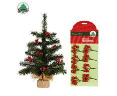 Partylandia Shop decoración árbol de Navidad, Rojo/Verde, 7 cm