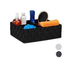 Relaxdays Cesta de almacenaje para baño, Cuatro Compartimentos, Neceser, Organizador, 10x32x27 cm, 1 Ud, Negro