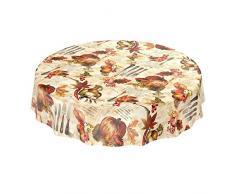 ANRO Mantel Encerado Mantel de Hule (Hule Mantel Cubiertos cebollas Aceite de Oliva Calabaza Otoño (Redonda, 120 cm, Borde de Corte
