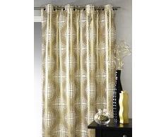 Homemaison Jacquard-tejido cortina con diseño de geométrico, dorado, 138 x 260 cm