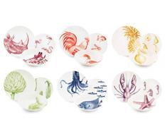 Excelsa Flora & Fauna juego de platos de cerámica, Multicolor