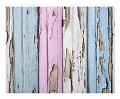 Diseño Pintado 120 x 53 cm madera suelo Shabby Azul/Rosa