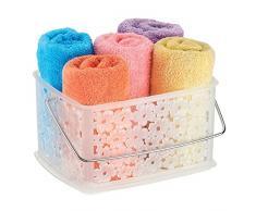 InterDesign Blumz Cesta de almacenamiento, cesta de plástico mediana para baños ideal para accesorios de ducha y de aseo personal, transparente