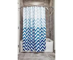 InterDesign Ombre Chevron Cortina de baño textil | Cortina para baño de fácil cuidado de 183 cm x 183 cm | Cortina de ducha o bañera con diseño en zigzag| Poliéster azul