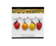 Epicurean Europe - Pesas para mantel (4 unidades, 4,5 x 22 x 16 cm, resina y acero inoxidable), diseño de frutas