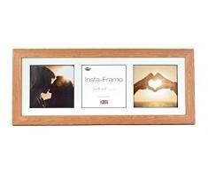 Inov8 21 x 20,32 cm Insta-Frame Kayla marco para Instagram 3/de estampado a cuadros de fotos con paspartú blanco y blanco con borde, 2 unidades, roble claro
