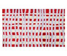 LifeStyle-Mat Fussmatte, 67x110cm, waschbar und rutschfest, in Mehreren Größen, Kariert Rot Flieder Alfombra de Pasillo, Microfibra, Rojo/Beige/Lila
