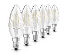 Osram Retrofit Cl W Bombilla LED, E14, 24 watts, 2700 Kelvin, Filamento Estilo Claro, Blanco Cálido, Pack of 6