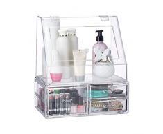 Relaxdays Organizador para Maquillaje, Tres cajones, Caja de almacenaje para Brochas & Pintalabios, Transparente, Acrílico, 34 x 30,5 x 19,5 cm
