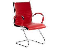 hjh OFFICE 660535 silla de confidente PARMA V cuero rojo, cuero real, alumino cormado, estable, con apoyabrazos, buen acolchado, alta gama, silla visitante